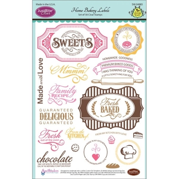 JustRite Papercraft Clear Stamp Set 6inX8in-Home Bakery Labels 30pc