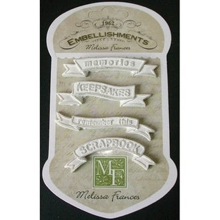 Resin Embellishments 4/Pkg-Banners 2.375inX.5in