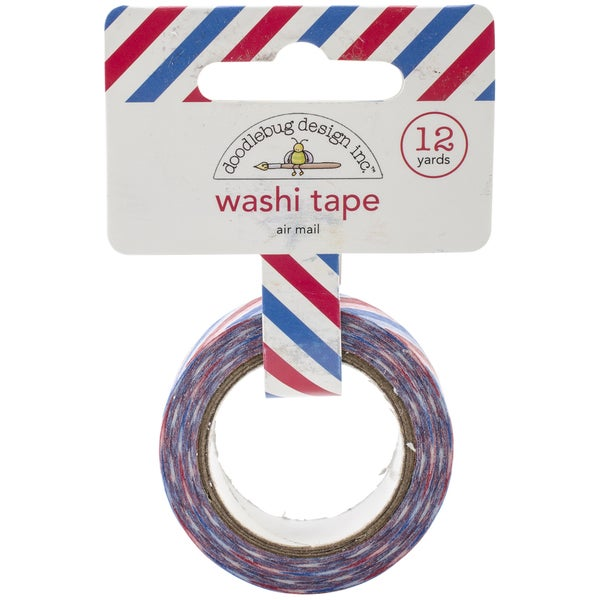 Washi Tape 15mmX12yd-Red, White & Blue Airmail Stripe