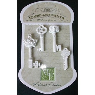 Resin Embellishments 4/Pkg-The Key To My Heart 1.875inX1.875in
