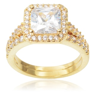 Journee Collection Brass 2 2/5ct TGW Cubic Zirconia Engagement Ring Set