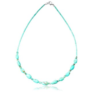Journee Collection Sterling Silver Handmade Turquoise Beaded Necklace