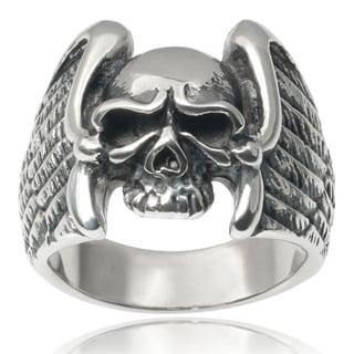 Vance Co. Men's Stainless Steel Eagle Wing Skull Ring