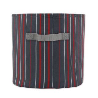 Multi-stripe Charcoal 10.75-inch Round Soft Storage Container