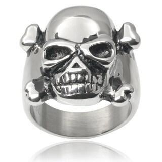 Vance Co. Men's Stainless Steel Crossbones Skull Ring