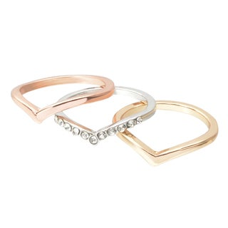 Journee Collection Brass Cubic Zirconia Knuckle Ring Set