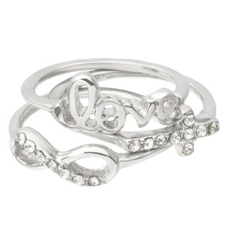 Journee Collection Brass Cubic Zirconia 'Love' Knuckle Ring Set