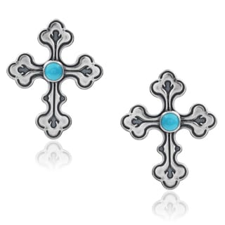 Tressa Collection Sterling Silver Handmade Turquoise Cross Earrings