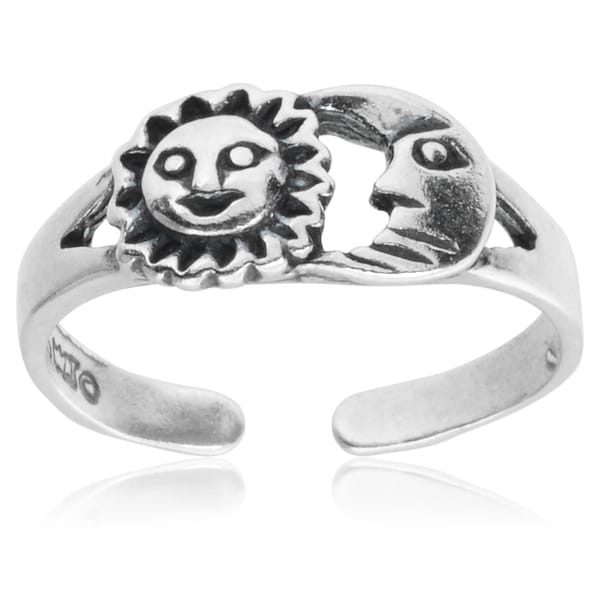 Journee Collection Sterling Silver Sun Moon Adjustable Toe Ring