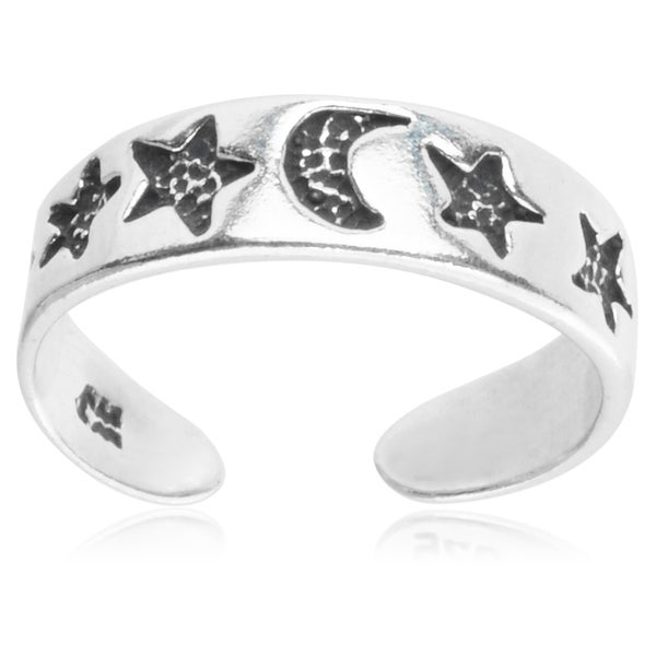 Journee Collection Sterling Silver Stars and Moon Toe Ring