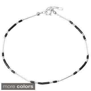 Tressa Collection Sterling Silver Handmade Beaded Adjustable Anklet