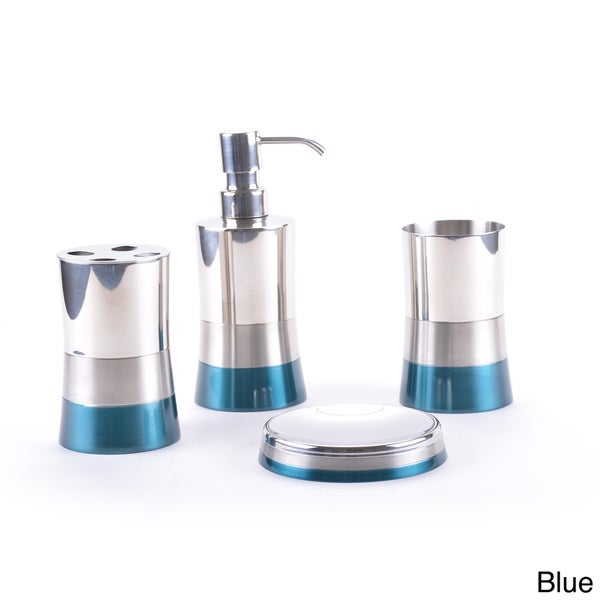 Blue bathroom accessory set metallic sink ensemble silver for Coloured bathroom accessories set
