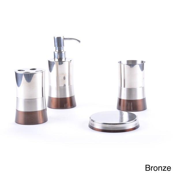 shiny matte color block bottom bath accessory 4 piece set