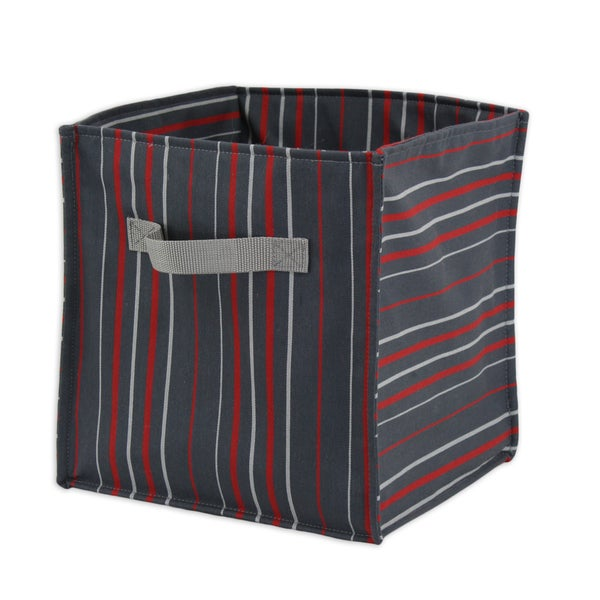 Multi-stripe Soft Sided Storage Container with Red Canvas Handle