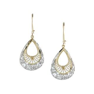 14k Two-tone Gold Diamond-cut Filigree Dangle Earrings