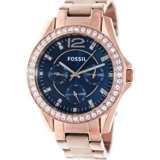 Fossil Women's Riley ES3341 Rose-Goldtone Stainless Steel Quartz Watch with Blue Dial