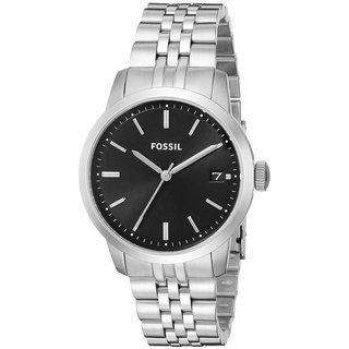 Fossil Women's Townsman FS4818 Silvertone Stainless Steel Quartz Watch with Black Dial