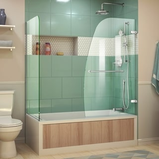 Dreamline Aqua Uno 30 in. D x 56 - 60 in. W x 58 in. H Frameless Hinged Tub Door, Clear Glass