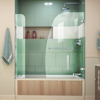 Dreamline Aqua Uno 56 - 60 in. W x 58 in. H Frameless Hinged Tub Door, Clear Glass