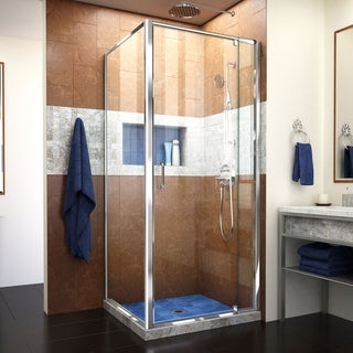 Dreamline Flex 34.5 in. D x 32.4375 - 36.4375 in. W x 72 in. H Frameless Pivot Shower Door, Clear Glass