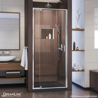 Dreamline Flex 32 - 36 in. W x 72 in. H Frameless Pivot Shower Door, Clear Glass