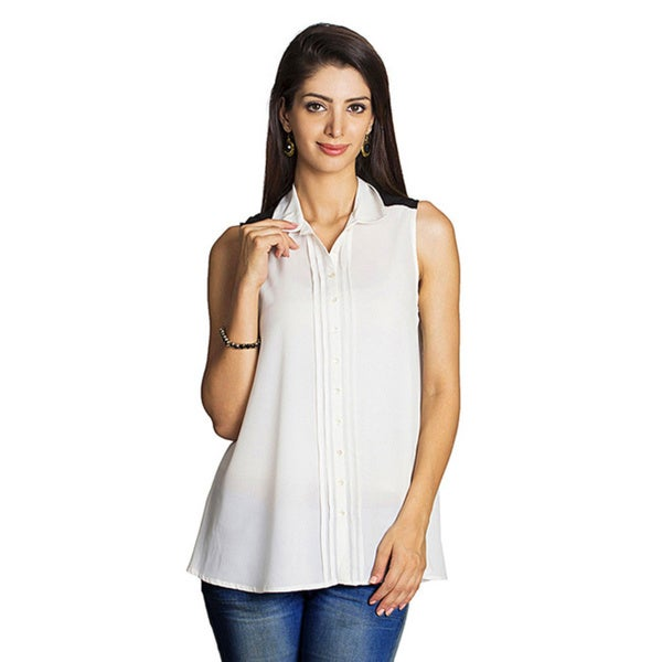 Women's Off-white Pleated Placket Sleeveless Top (India)