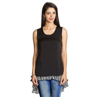 Mohr Women's Black Layered Ruffle Sleeveless Top (India)