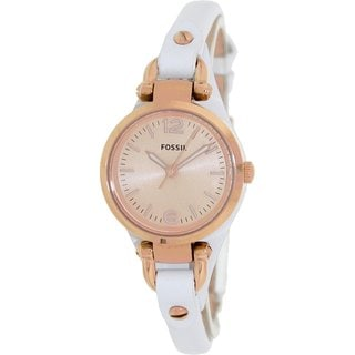 Fossil Women's Georgia ES3265 White Leather Quartz Watch with Rose-Goldtone Dial