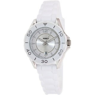 Fossil Women's ES2932 White Rubber Quartz Watch with White Dial