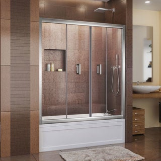 Dreamline Butterfly 58 - 59.5 in. W x 58 in. H Frameless, Bi-fold, Clear Glass Tub Door
