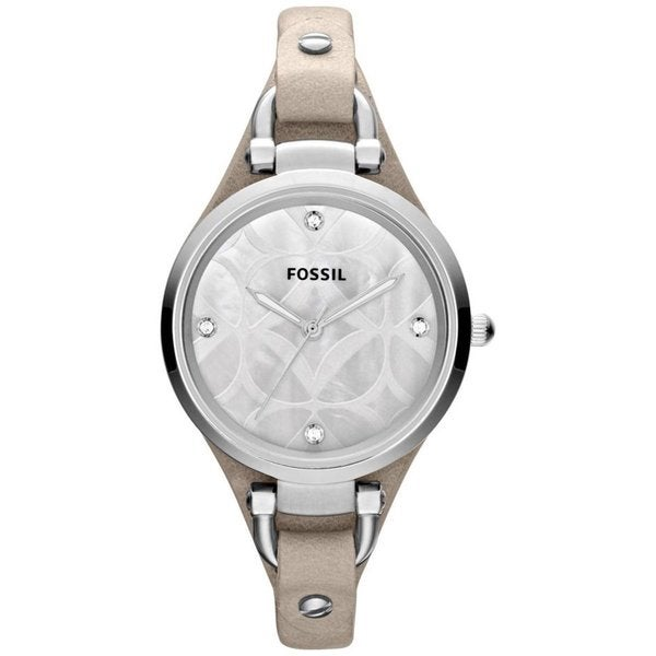 Fossil Women's Georgia ES3150 Beige Calf Skin Analog Quartz Watch with Grey Dial