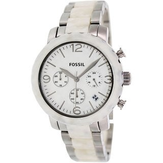 Fossil Women's Natalie JR1420 White Stainless Steel Analog Quartz Watch with White Dial
