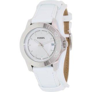 Fossil Women's Retro AM4458 White Leather Analog Quartz Watch with White Dial