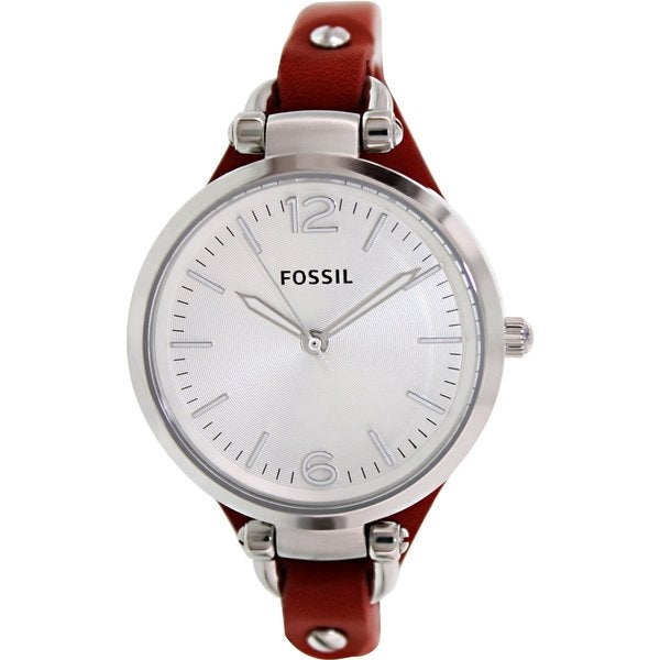 Fossil Women's Georgia ES3147 Red Calf Skin Analog Quartz Watch with Silvertone Dial