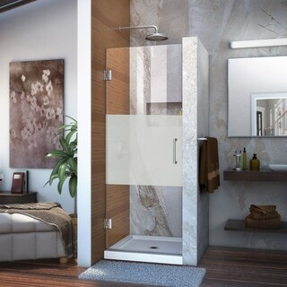 Dreamline Unidoor 24 in. W x 72 in. H Frameless Hinged Shower Door, Half Frosted Glass