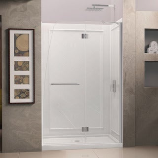 Dreamline Aqua 56 - 60 in. W x 72 in. H Frameless Hinged Shower Door, Clear Glass
