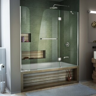 Dreamline Aqua 56 - 60 in. W x 58 in. H Frameless Hinged Tub Door, Clear Glass