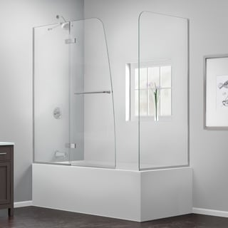 Dreamline Aqua Ultra 30 in. D x 56 - 60 in. W x 58 in. H Frameless Hinged Tub Door, Clear Glass