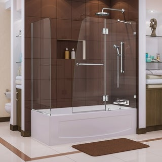 Dreamline AquaLux 30 in. D x 57 - 60 in. W x 58 in. H Frameless Hinged Tub Door, Clear Glass