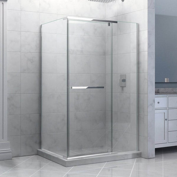 Dreamline Quatra Frameless Pivot Shower Enclosure, Clear Glass