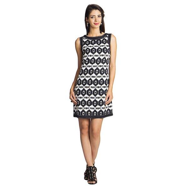 Mohr Women's Black/ White Printed Sleeveless Dress (India)