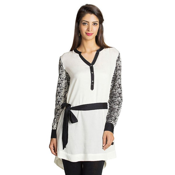Mohr Women's Off-white Printed Long Sleeve Tunic (India)