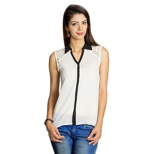 Mohr Women's Lace Embellished Sleeveless Top (India)