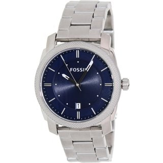 Fossil Men's Machine FS4794 Silvertone Stainless Steel Quartz Watch with Blue Dial