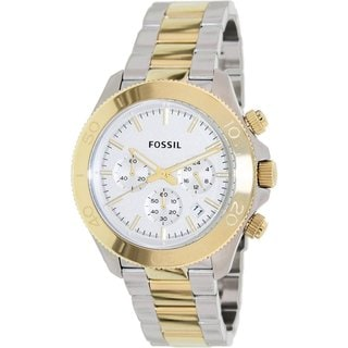 Fossil Men's Retro Traveler CH2850 Two-tone Stainless Steel Quartz Watch with Silvertone Dial
