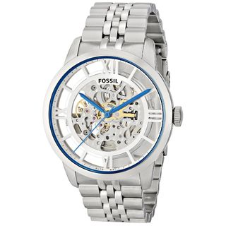 Fossil Men's Townsman ME3044 Silver Stainless-Steel Automatic Watch with Silver Dial