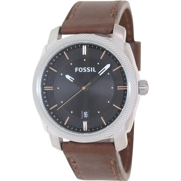 Fossil Men's Machine FS4860 Brown Leather Analog Quartz Watch with Black Dial