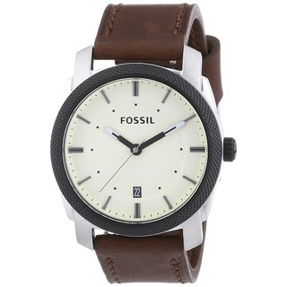 Fossil Men's Machine FS4836 Brown Leather Analog Quartz Watch with Beige Dial