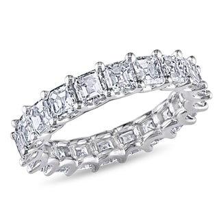 Miadora 18k White Gold 4 1/2ct TDW Certified Asscher Cut Diamond Eternity Ring (F-G, VS2-SI1)