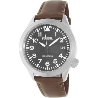 Fossil Men's Aeroflite AM4512 Brown Leather Quartz Watch with Black Dial